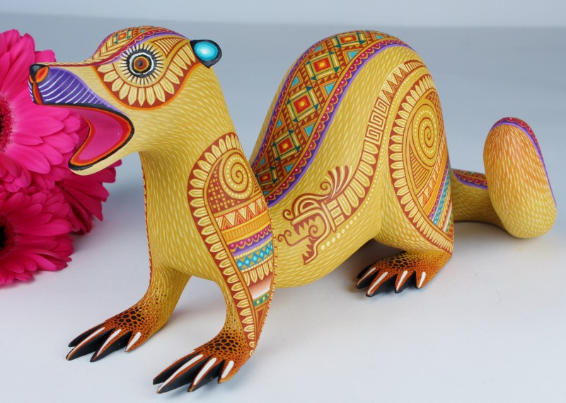 Oaxacan Wood Carving Museum Quality One Piece Weasel With Feathered Serpent Design by Julia Fuentes