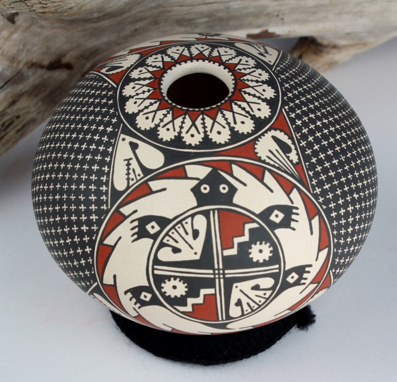 Mata Ortiz Pottery Turtle And Mimbres Chicken Seedpot by Miriham Gallegos