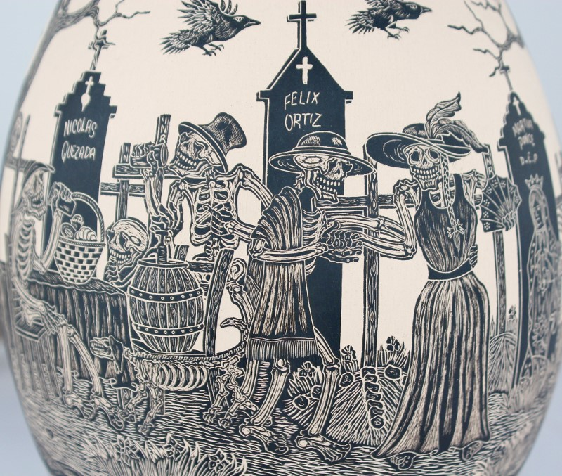 Mata Ortiz Pottery Javier Martinez Museum Quality Large Day Of The Dead Cemetery Scene Sgraffito Pot Day Version
